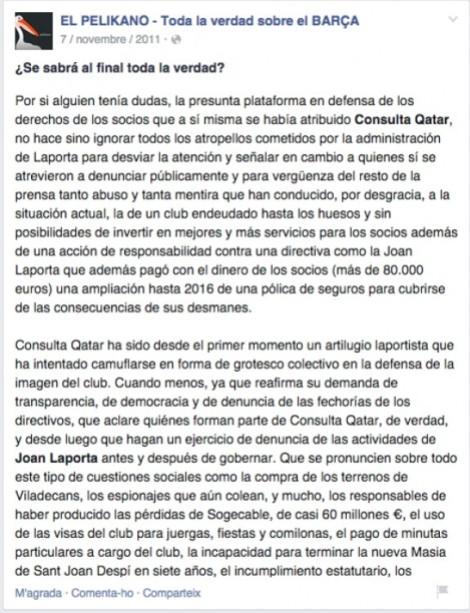 Texto contra Laporta y Jordi Cases.