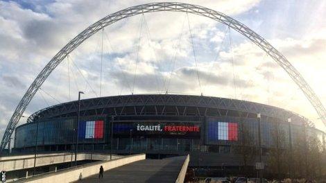 Wembley antes del amistoso Inglatera - Francia