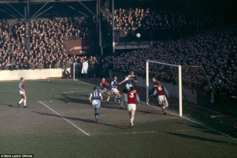 A goalmouth scramble ensues as Bobby Moore's Hammers are defeated 3-1 by Ipswich Town at Upton Park in 1963