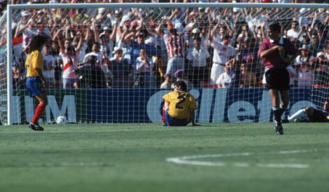 LOS ANGELES, UNITED STATES - JUNE 22: Andres Escobar (C) of Colombia reacts after scoring an own goal during the World Cup group A match between USA and Colombia on June 22, 1994 in Los Angeles, United States. (Photo by Michael Kunkel/Bongarts/Getty Images)