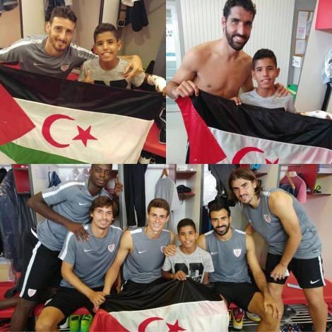Imágenes con los jugadores rojiblancos junto al joven saharaui / Fuente: @erreharria