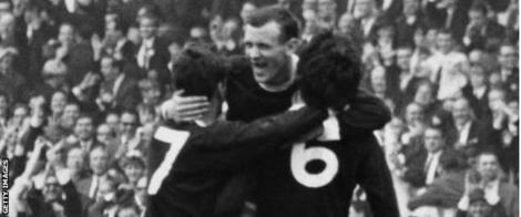 Willie Wallace, Bobby Lennox and Jim Baxter soak up Scotland's 1967 triumph at Wembley